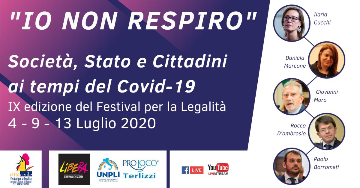 Banner Io non respiro Società Stato e Cittadini ai tempi del Covid-19 - Festival per la Legalità Terlizzi 2020