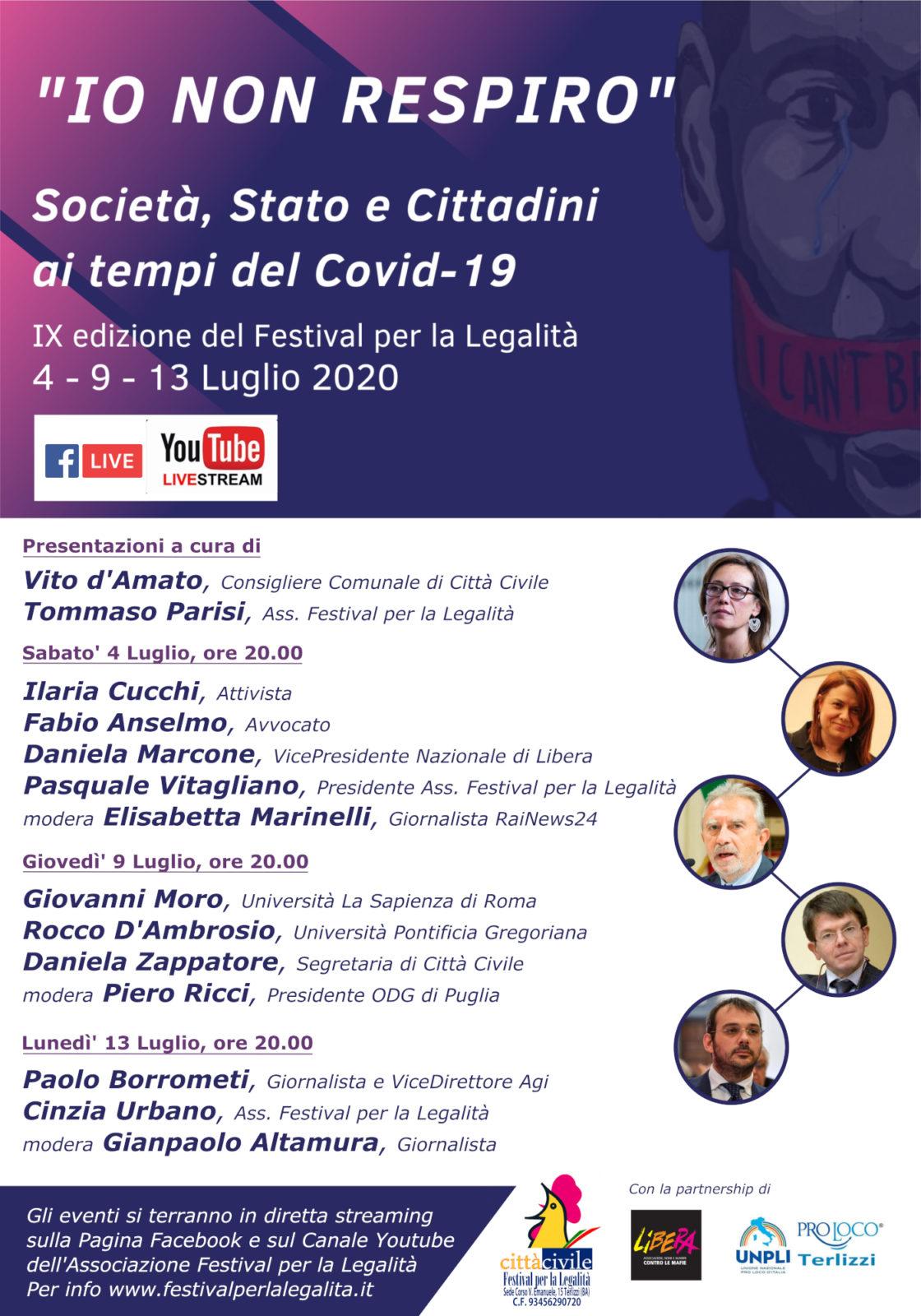 Locandina Io non respiro Società Stato e Cittadini ai tempi del Covid-19 - Festival per la Legalità Terlizzi 2020