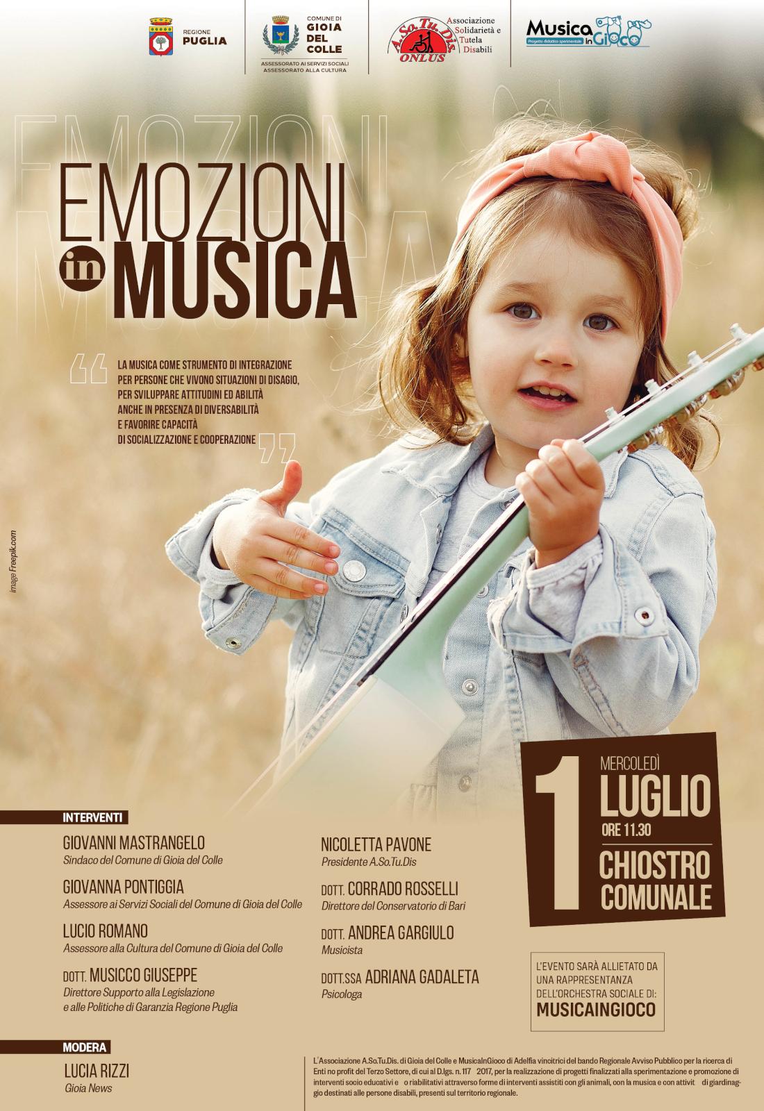 Manifesto emozioni in musica luglio 2020 ASOTUDIS Gioia del Colle