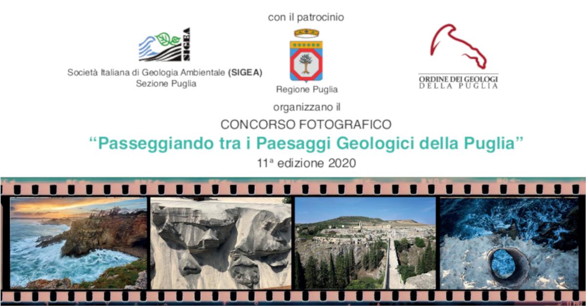 Banner concorso Passeggiando tra i Paesaggi Geologici della Puglia 2020 - Org e Sigea