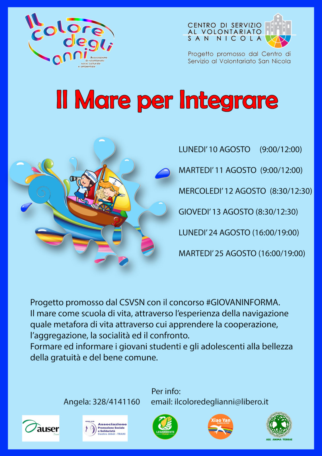 Locandina Il mare per integrare #GIOVANINFORMA CSV San Nicola-