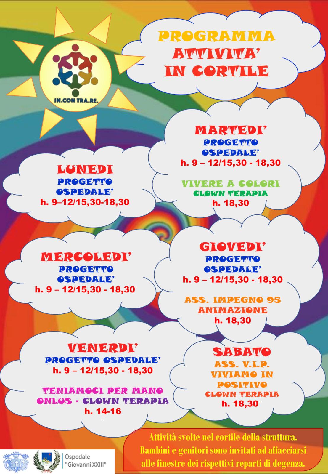 Locandina attività in cortile pediatrico agosto 2020 rete incontrare-