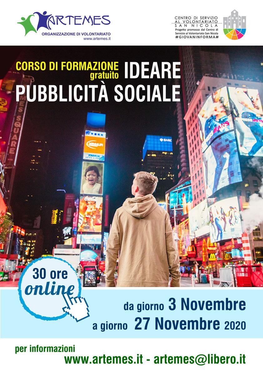 Locandina Ideare-Pubblicita-Sociale-ARTEMES-OdV-CSV-San-Nicola-#GIOVNAINFORMA