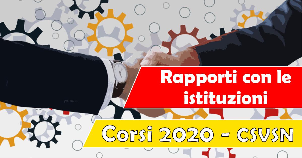 Banner Rapporti con le istituzioni - Formazione CSV San Nicola -