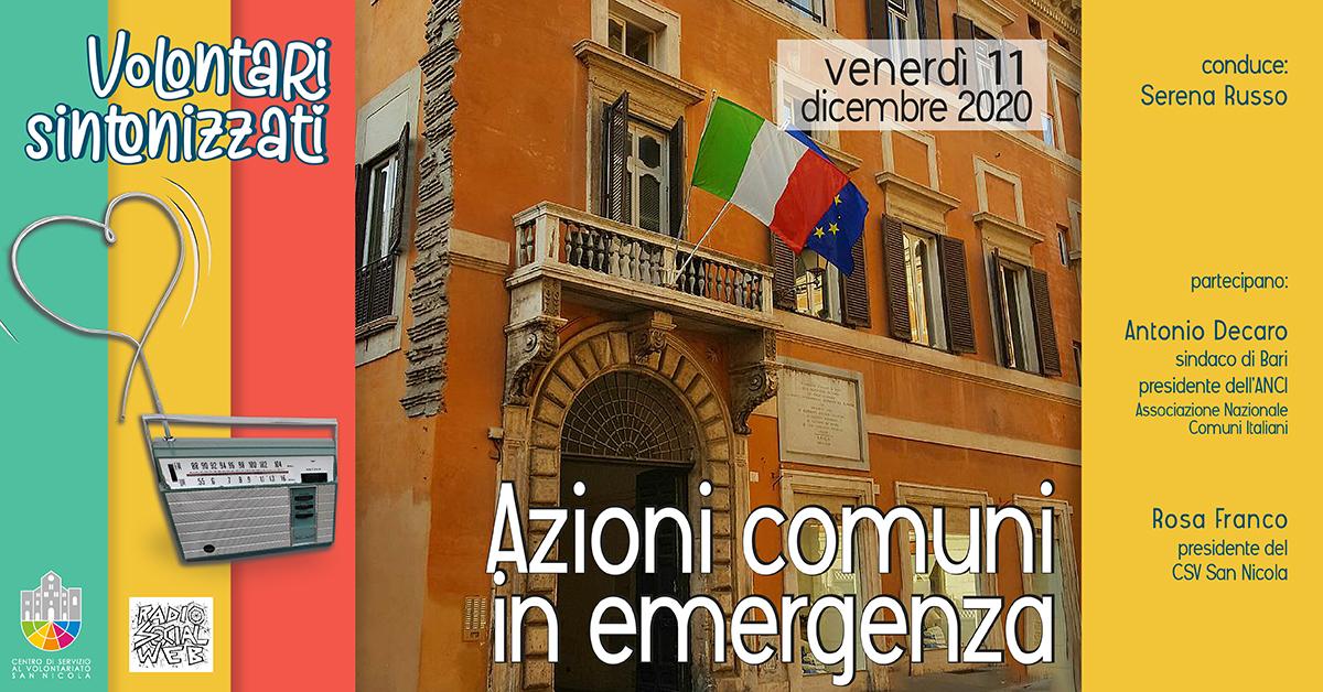 Banner Azioni comuni in emergenza - Volontari sintonizzati CSV San Nicola