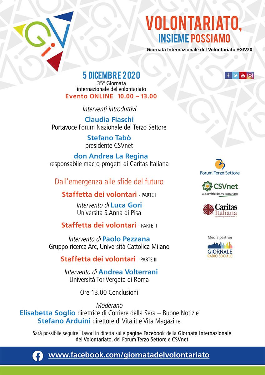Programma Giornata Internazionale del Volontariato 2020
