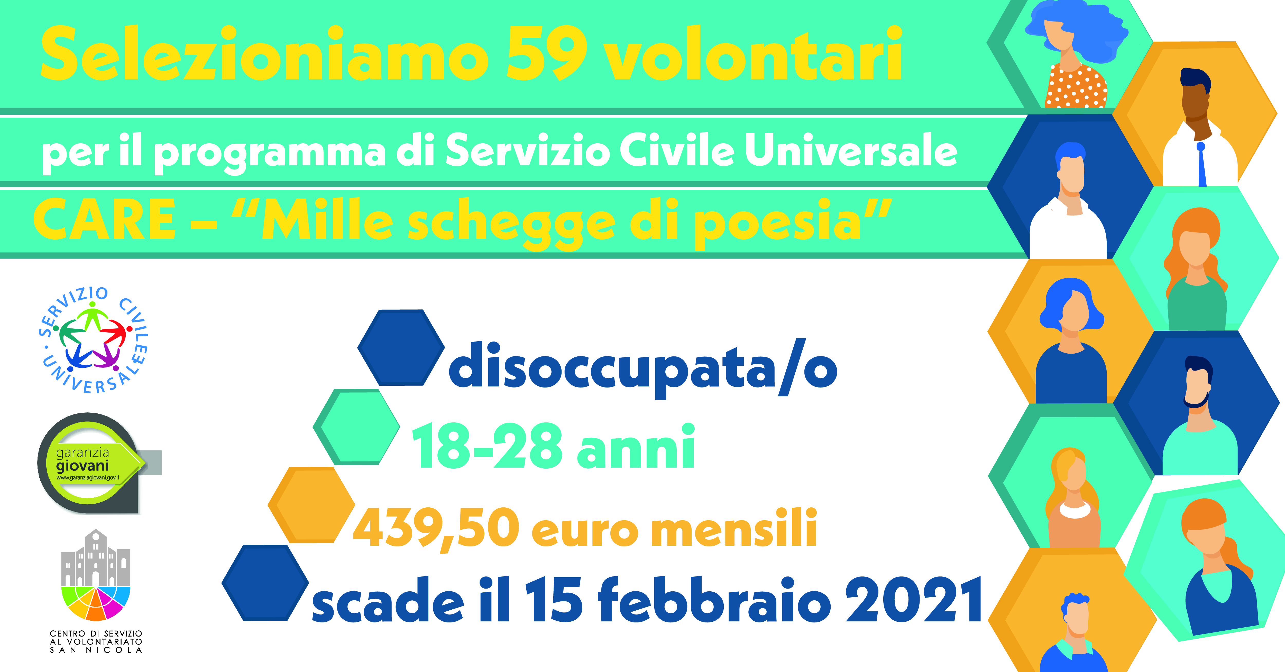 Banner CARE Mille schegge di poesia SCU Garanzia Giovani CSV San Nicola