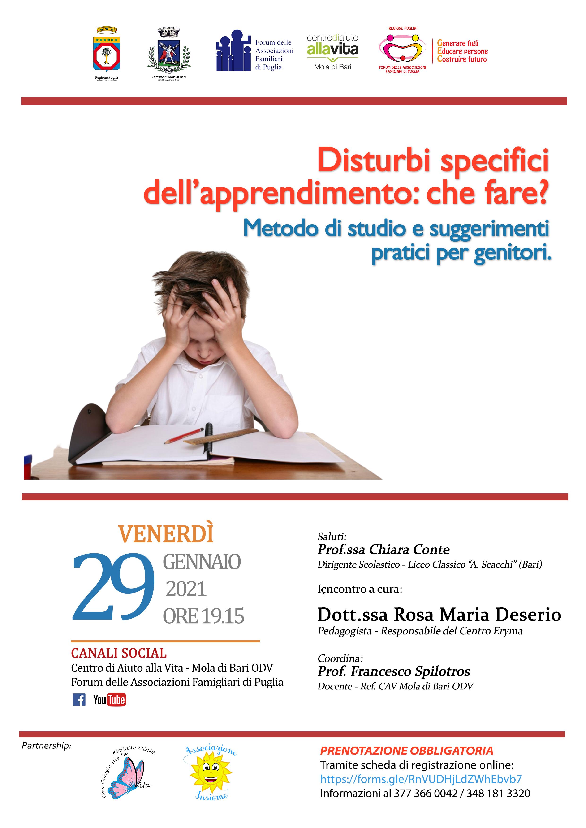Locandina Disturbi specifici dell'apprendimento che fare CAV Mola di Bari 2021