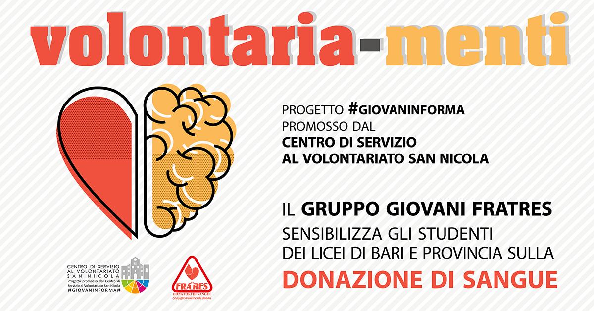 Banner #GIOVANINFORMA Volontaria-Menti Fratres provinciale Bari CSV San Nicola