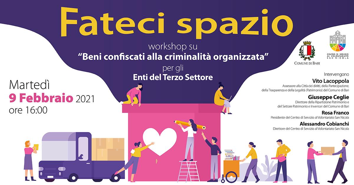Banner workshop Concessione in uso beni confiscati alla criminalità - Fateci spazio