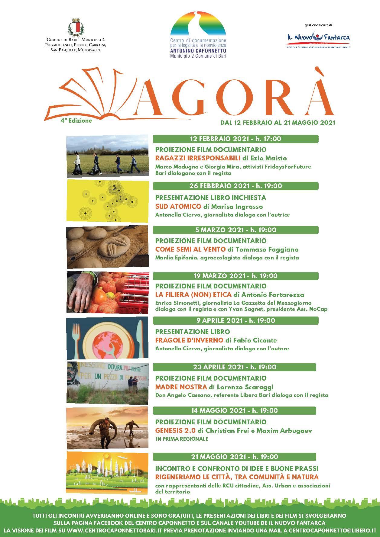 Locandina Agorà 2021 Centro Caponnetto Municipio 2 Bari