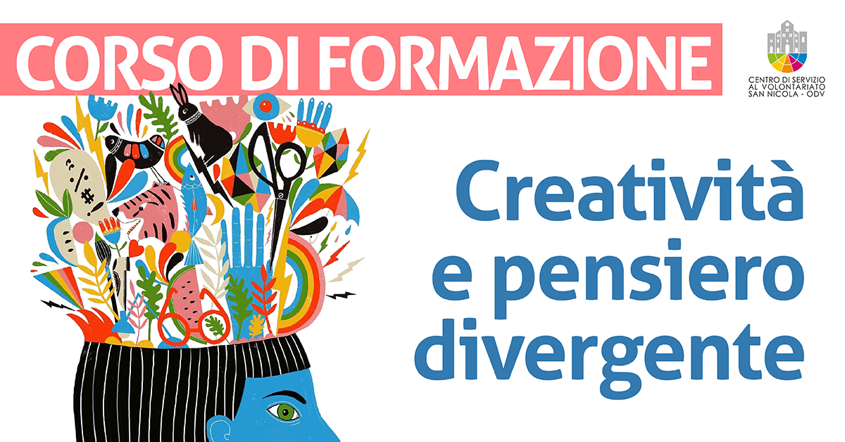 Banner corso di formazione Creatività e pensiero divergente CSV San Nicola 2021