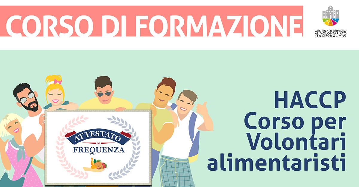 Banner corso formazione HACCP - Corso per Volontari alimentaristi CSV San Nicola