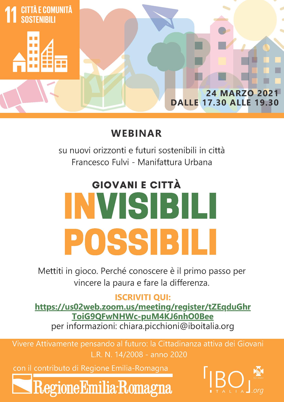 Locandina webinar Giovani e città - Invisibili Possibili
