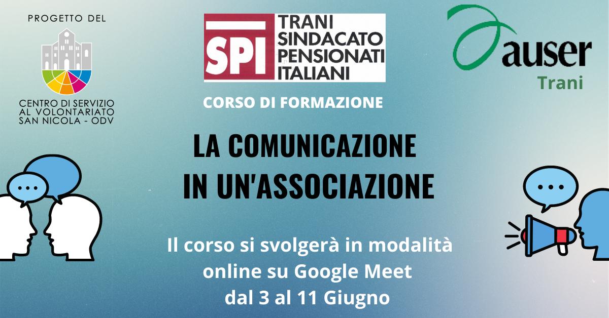 Banner Formazione indiretta CSV San Nicola Auser Trani La comunicazione in un'Associazione