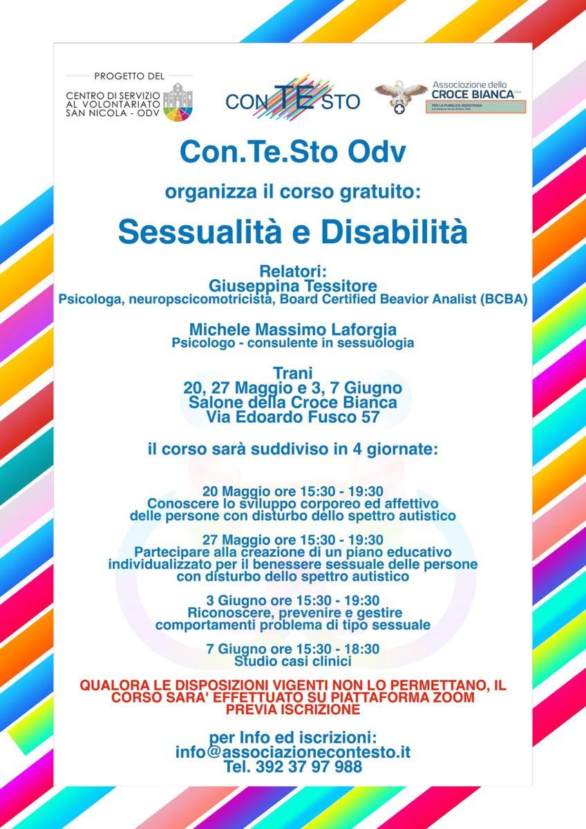 Locandina Sessualità e Disabilità CSV San Nicola Con. Te. Sto. OdV Formazione indiretta 2021