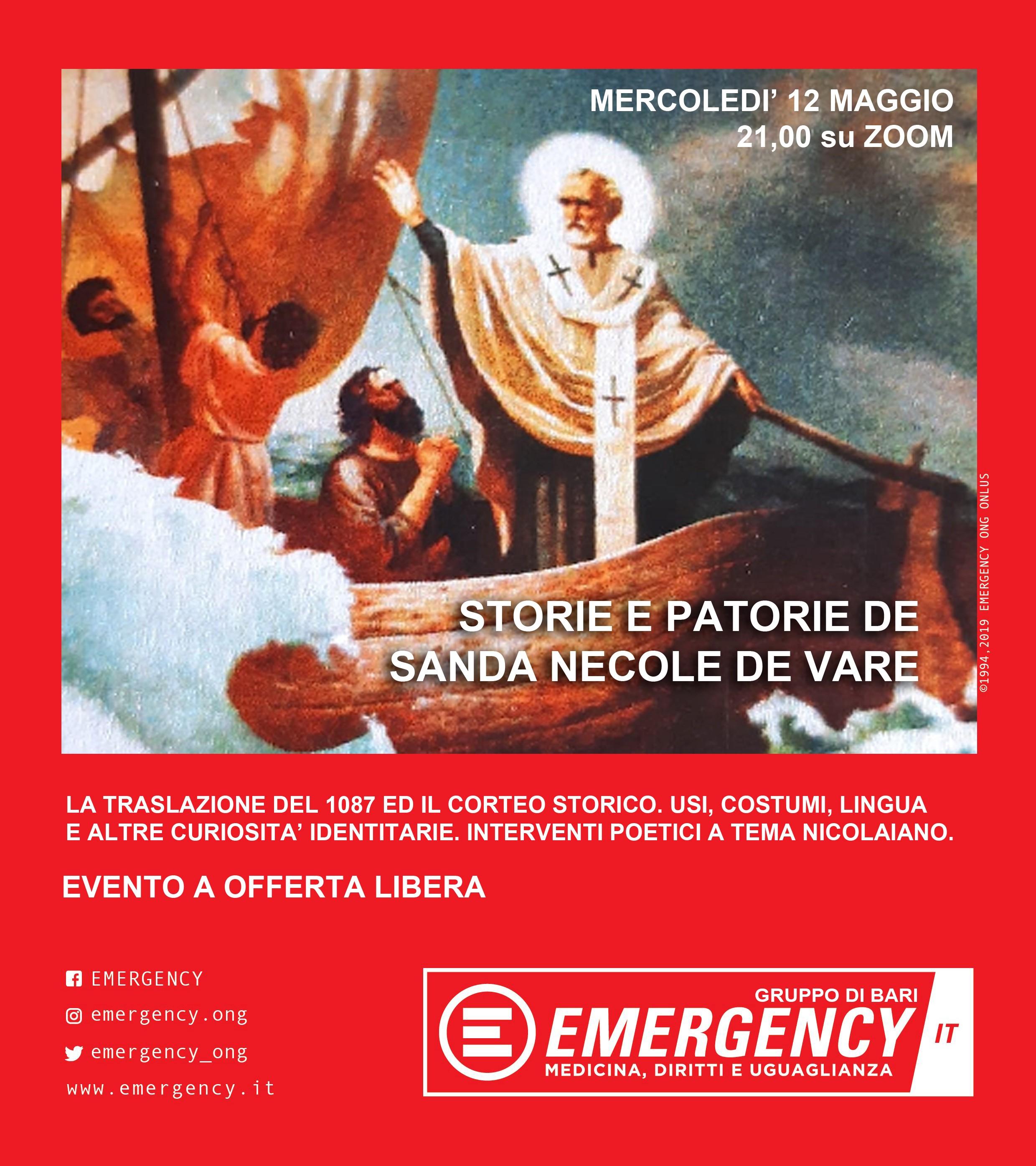 Locandina Storie e patorie de Sanda Necole de Vare Emergency Bari 2021