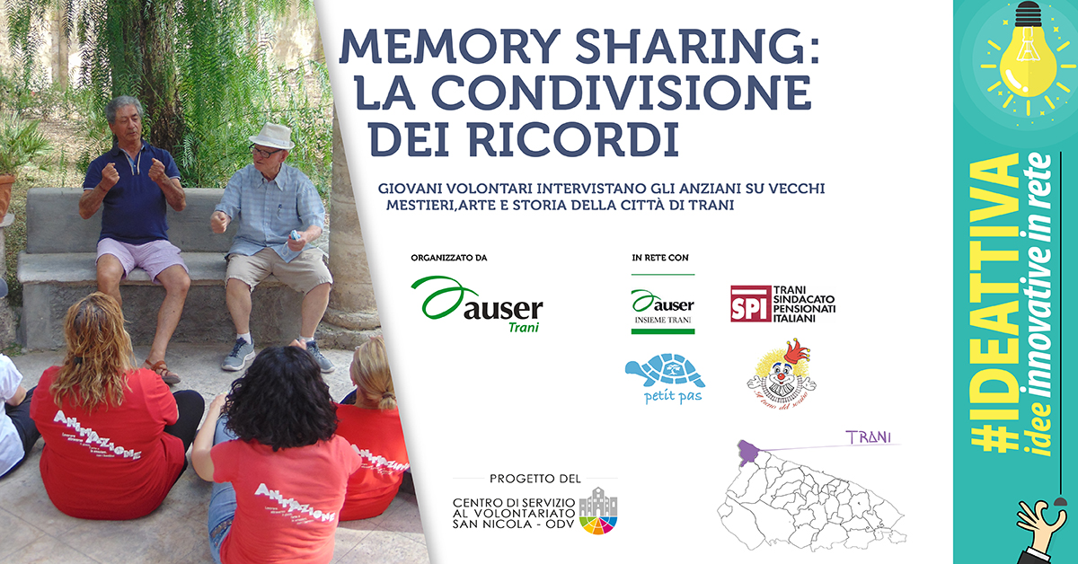 Banner Memory sharing la condivisione dei ricordi IDEATTIVA 2021 CSV San Nicola Auser volontariato ETS Trani