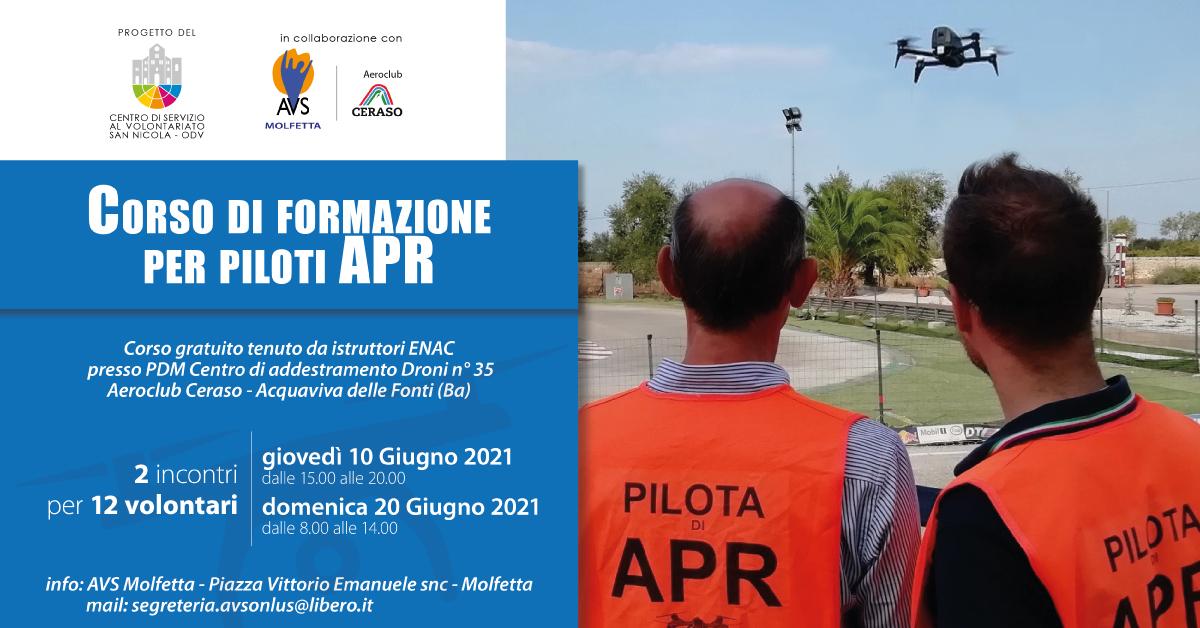 Banner Corso di formazione per Piloti APR CSV San Nicola AVS Molfetta Formazione indiretta