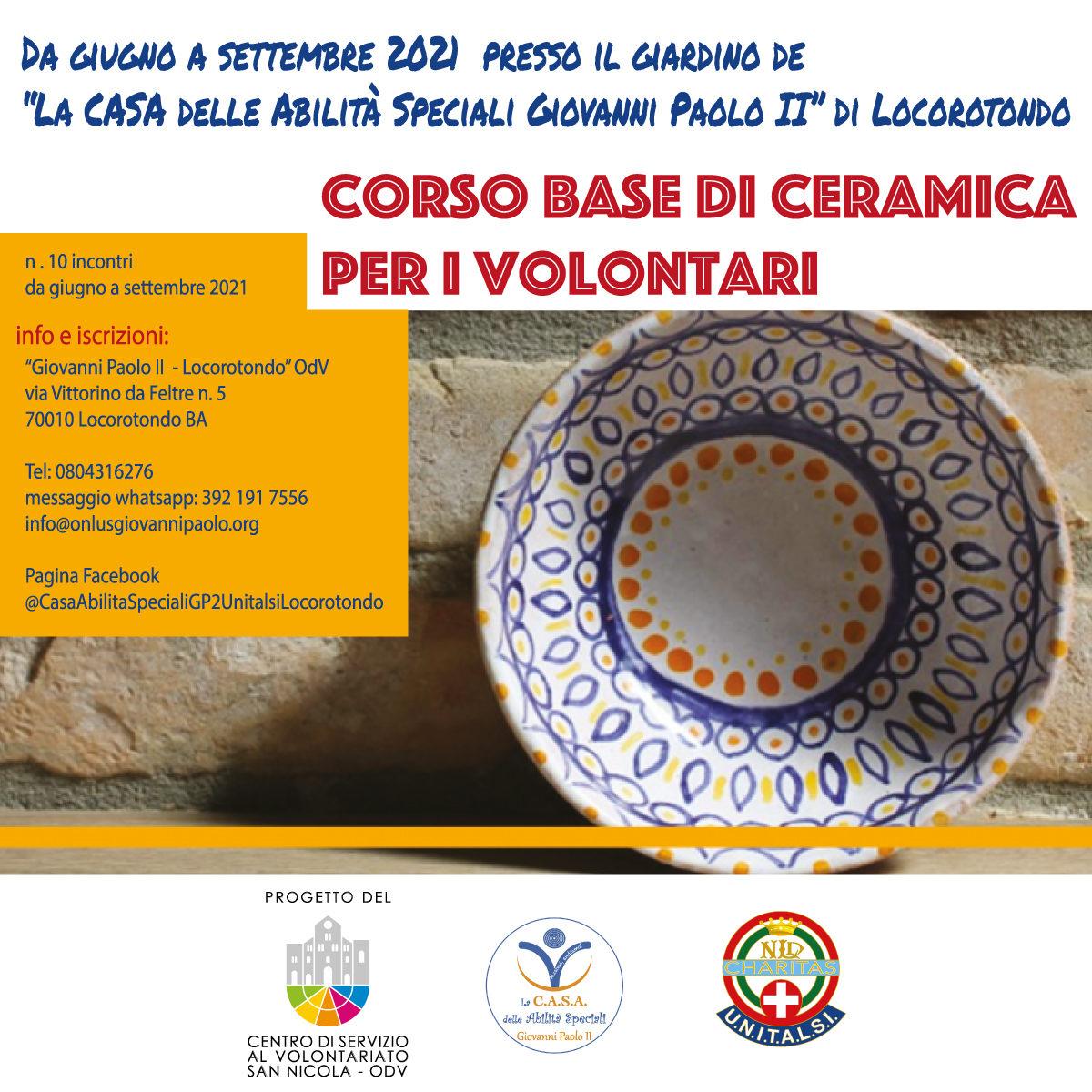 Banner-Formazione-indiretta-CSV-San-Nicola-Associazione-Giovanni-Paolo-II-Locorotondo-Corso-di-ceramica-per-volontari