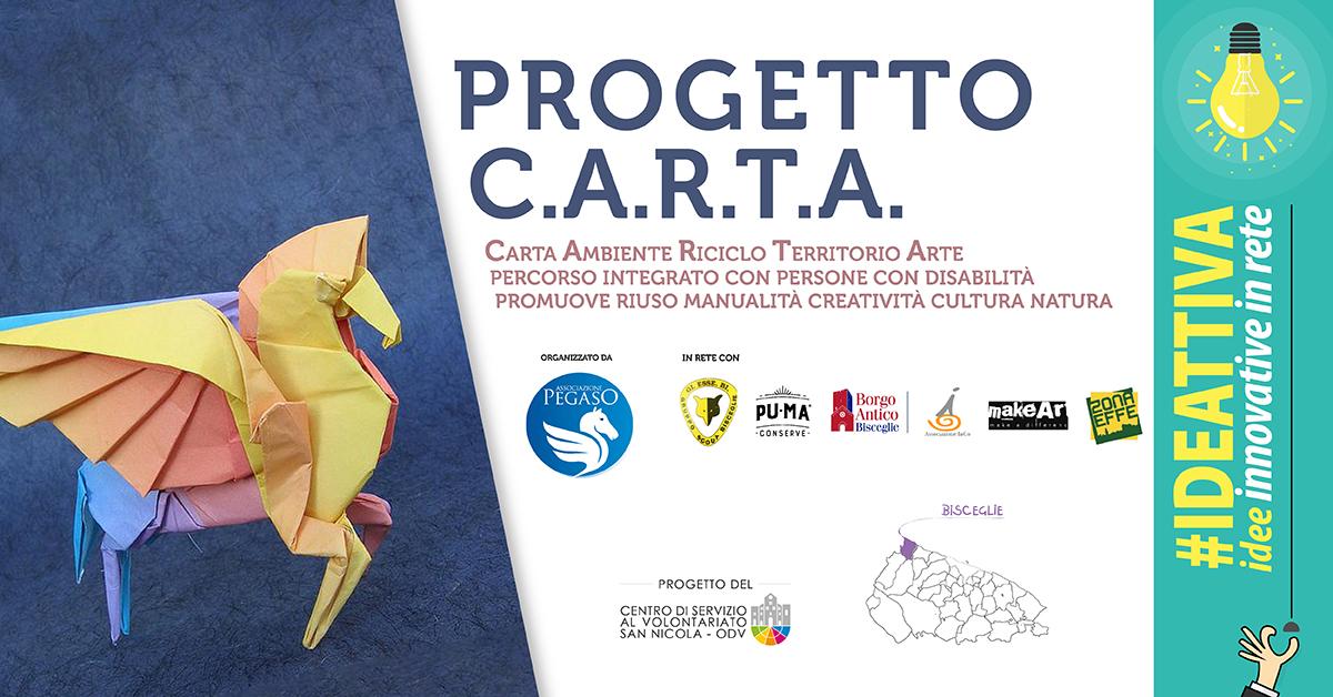 Banner Progetto CARTA IDEATTIVA 2021 CSV San Nicola - Associazione Pegaso