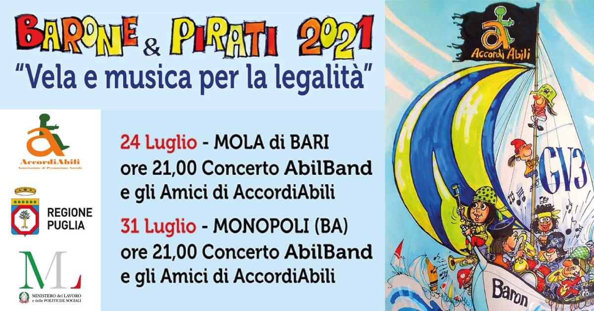 Banner Barone & Pirati - Vela e Musica per la legalità Pugliacapitalesociale 2021