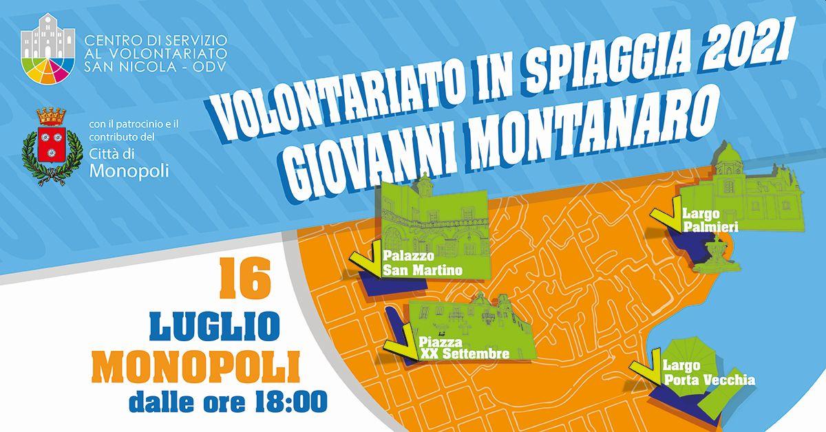 Banner Volontariato in Spiaggia 2021 Giovanni Montanaro 16 Luglio Monopoli