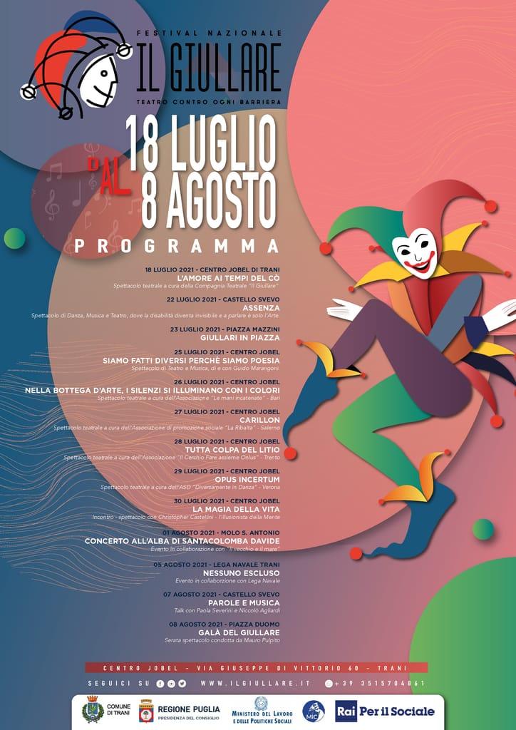 Locandina Il Giullare Festival nazionale del Teatro contro ogni barriera 2021 r