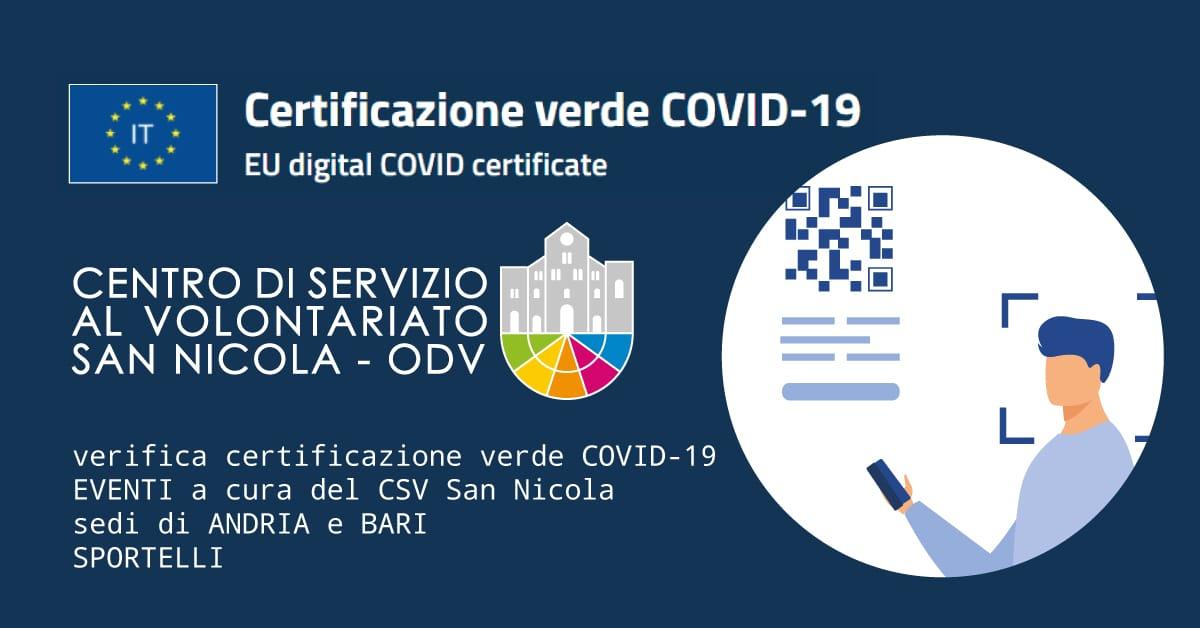 Banner Certificazione verde COVID-19 CSV San Nicola 2021