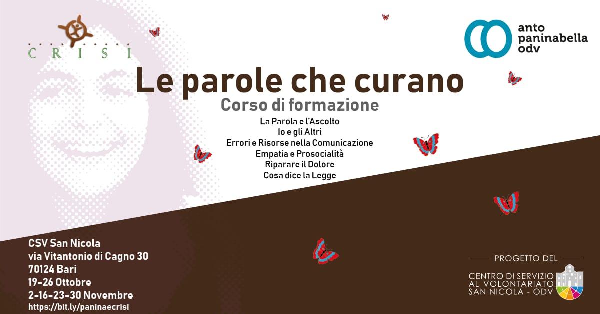Banner Formazione indiretta CSV San Nicola Anto Paninabella OdV Le Parole che Curano