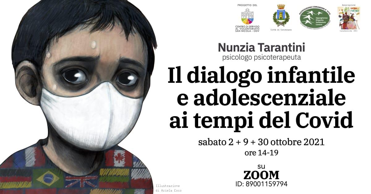 Banner Formazione indiretta CSV San Nicola Associazione Comunione è Vita Il dialogo infantile e adolescenziale ai tempi del Covid