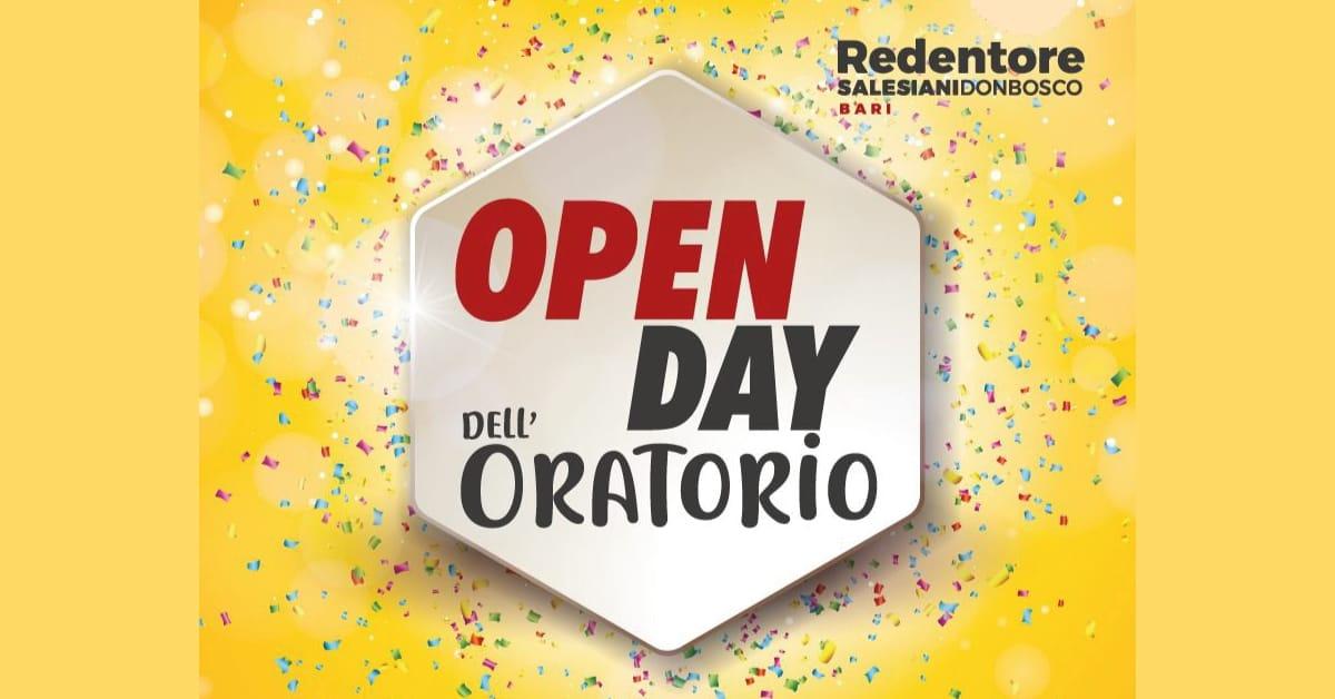 Banner Open day dell'Oratorio Redentori Salesiani Don Bosco Bari 2021