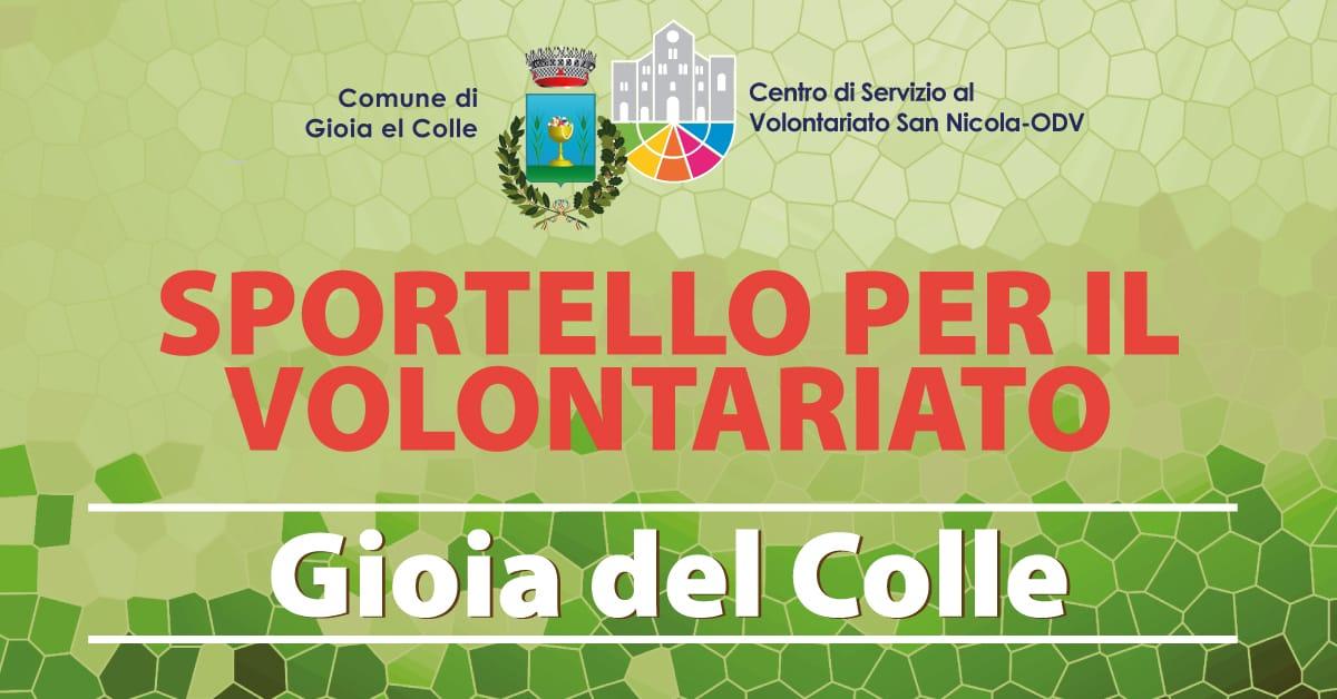 Banner Sportello per il Volontariato CSV San Nicola Gioia del Colle 2021 1200