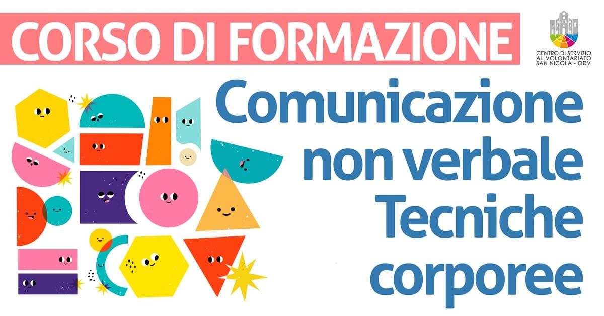 Banner corso di formazione Comunicazione non verbale e tecniche corporee CSV San Nicola 2021