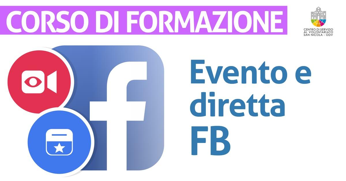 Banner corso di formazione Configurazione di un evento e di una diretta Facebook CSV San Nicola 2021
