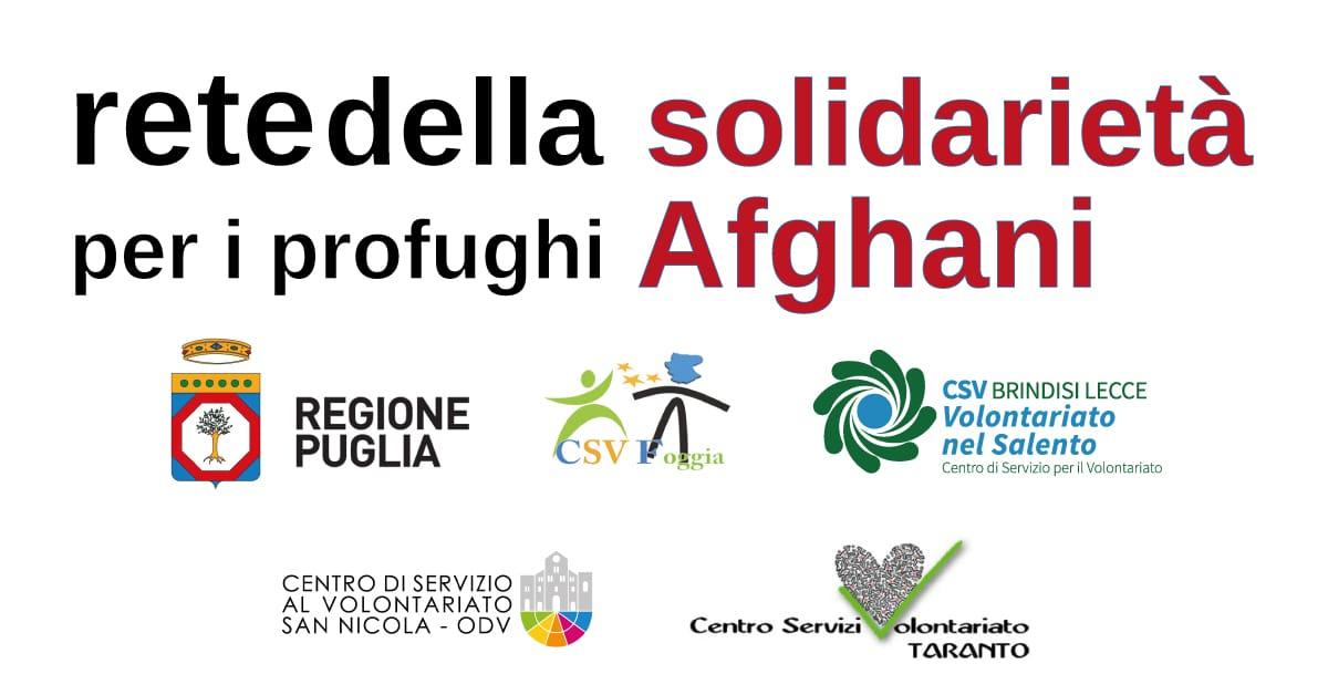Banner protocollo intesa Regione Puglia Csv pugliesi profughi Afghani