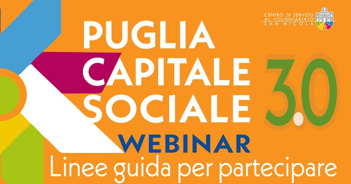 Banner webinar CSV San Nicola Linee guida per partecipare a PugliaCapitaleSociale 3.0