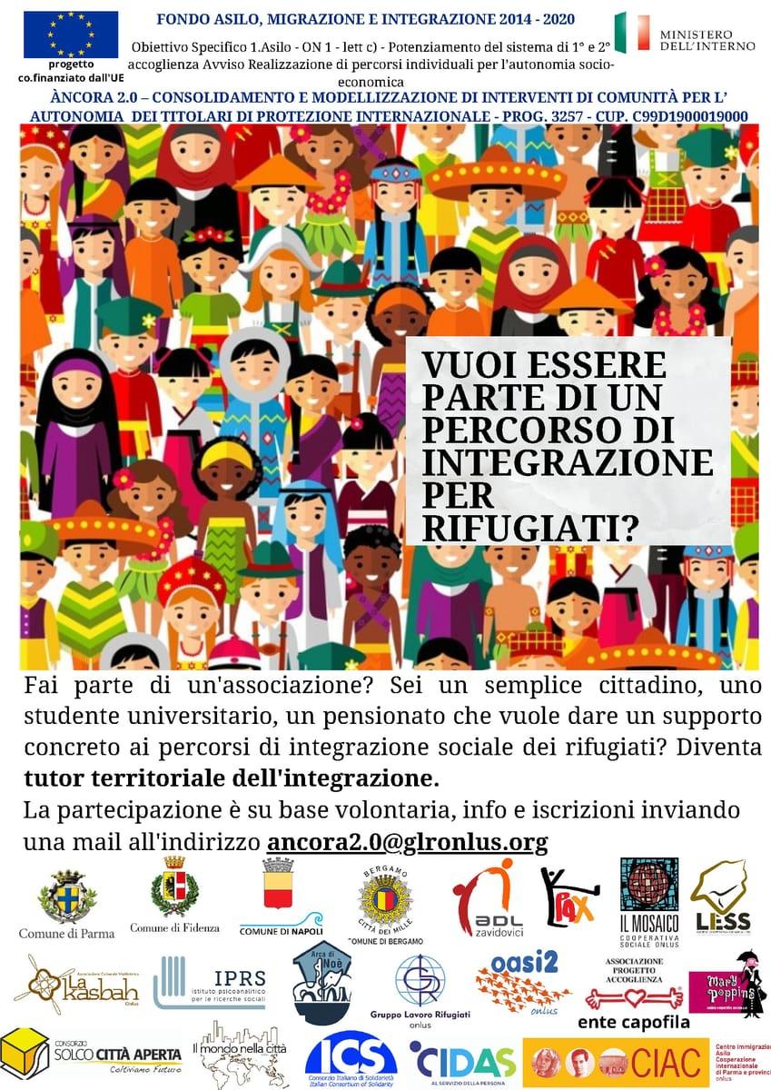 Flyer Tutor territoriali per rifugiati progetto Ancora GLR Gruppo lavoro rifugiati 2021r
