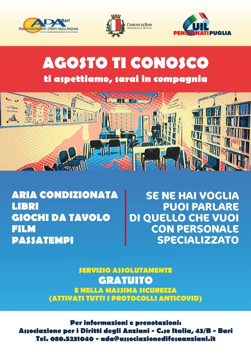 Locandina Agosto ti conosco ADA Bari 2021