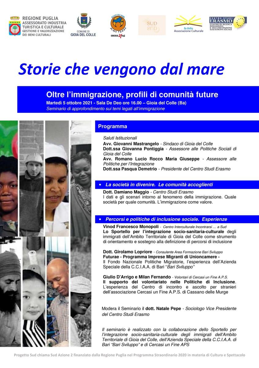 Locandina Oltre l'immigrazione, profili di comunità future Centro Studi Erasmo 5 Ottobre 2021