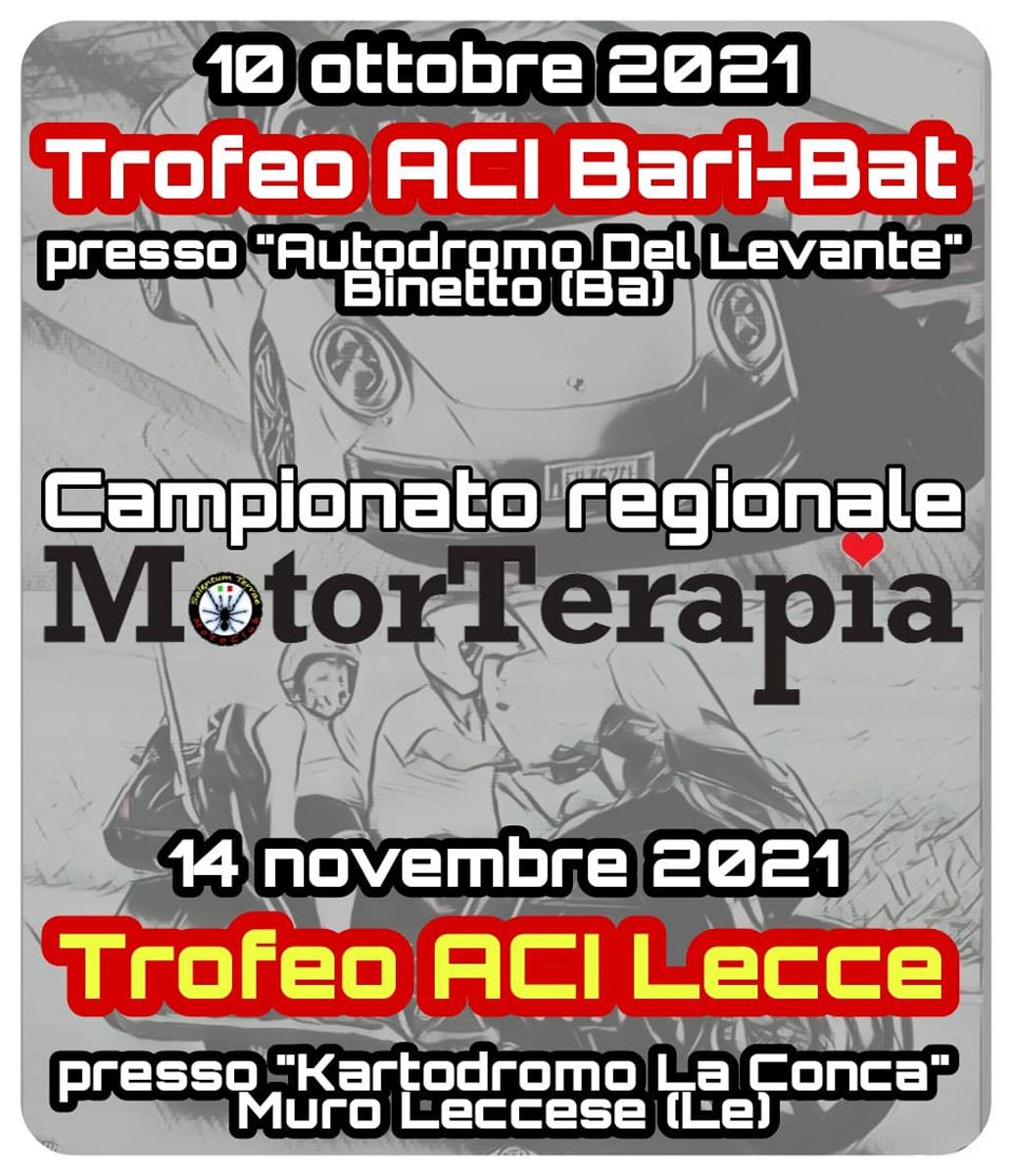 Locandina Seconda edizione di MotorTerapia Trofeo ACI Bari BAT MotoClub Salentum Terrae 2021