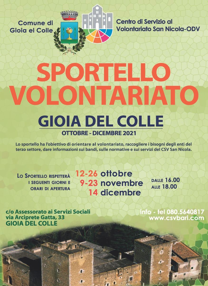 Locandina Sportello per il Volontariato CSV San Nicola Gioia del Colle 2021