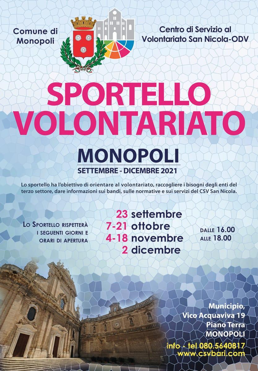 Locandina Sportello per il Volontariato CSV San Nicola Monopoli 2021