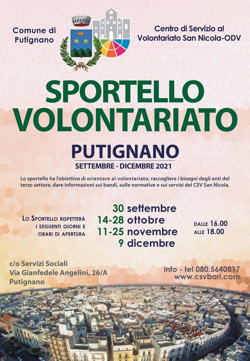 Locandina Sportello per il Volontariato CSV San Nicola Putignano 2021