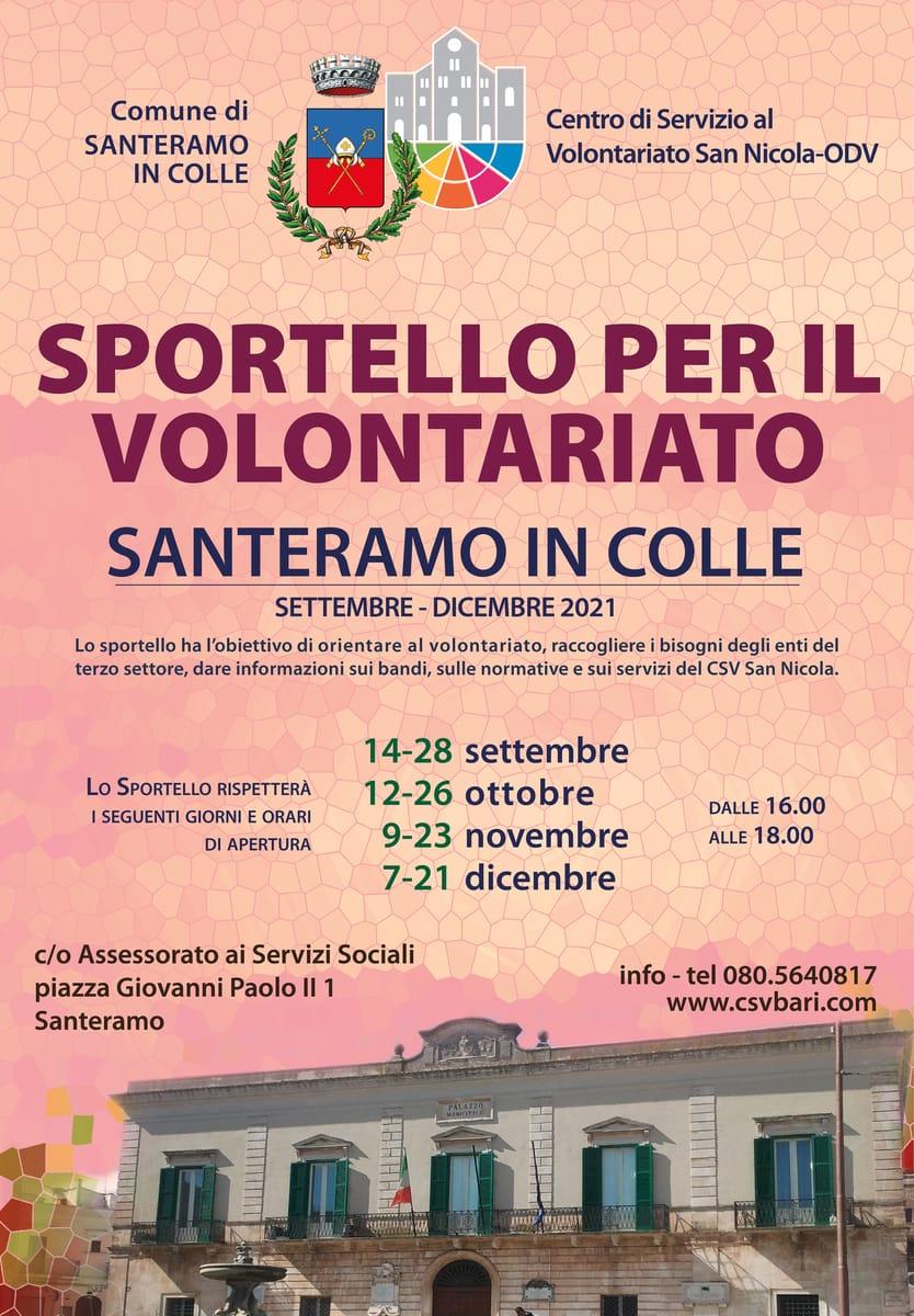 Locandina Sportello per il Volontariato CSV San Nicola Santeramo in Colle 2021