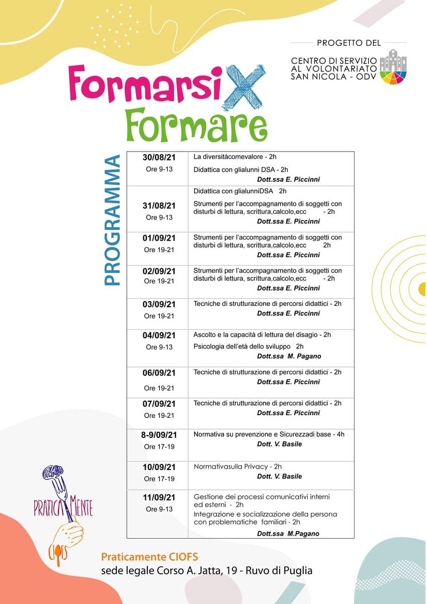 Programma Formazione indiretta CSV San Nicola Formarsi X Formare